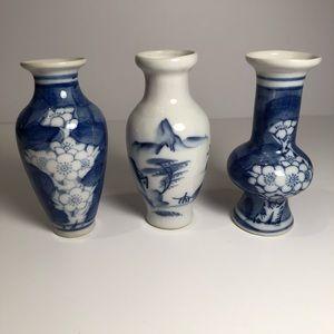 3 Porcelain Blue And White Vases